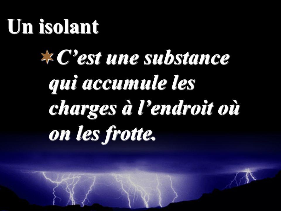 Un isolant C'est une substance qui accumule les charges à l'endroit où on les frotte.