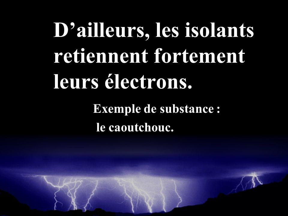 D'ailleurs, les isolants retiennent fortement leurs électrons.
