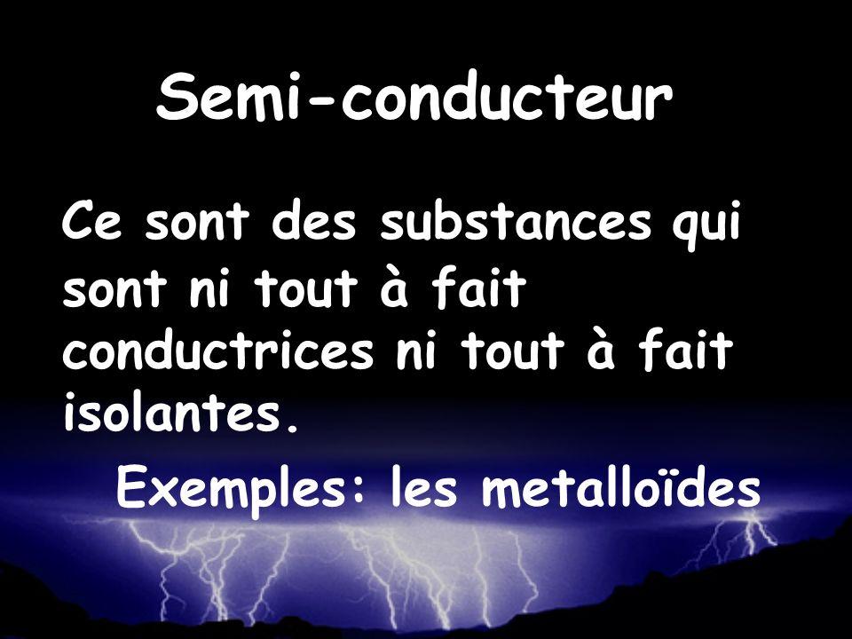 Semi-conducteur Ce sont des substances qui sont ni tout à fait conductrices ni tout à fait isolantes.
