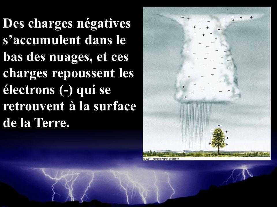 Des charges négatives s'accumulent dans le bas des nuages, et ces charges repoussent les électrons (-) qui se retrouvent à la surface de la Terre.