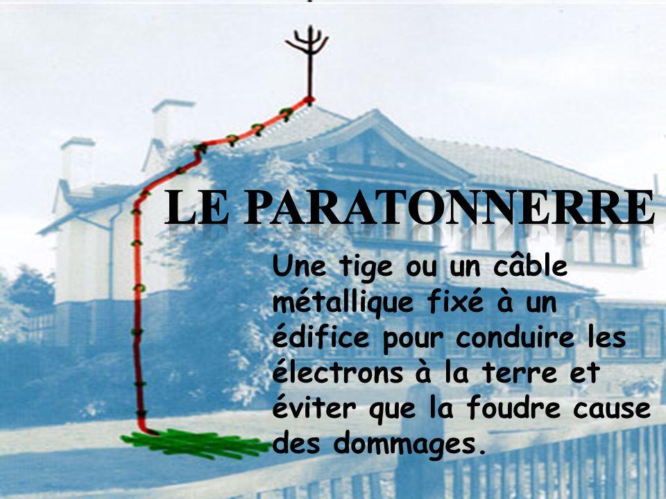 Le paratonnerre Une tige ou un câble métallique fixé à un édifice pour conduire les électrons à la terre et éviter que la foudre cause des dommages.