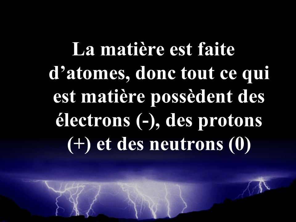 La matière est faite d'atomes, donc tout ce qui est matière possèdent des électrons (-), des protons (+) et des neutrons (0)