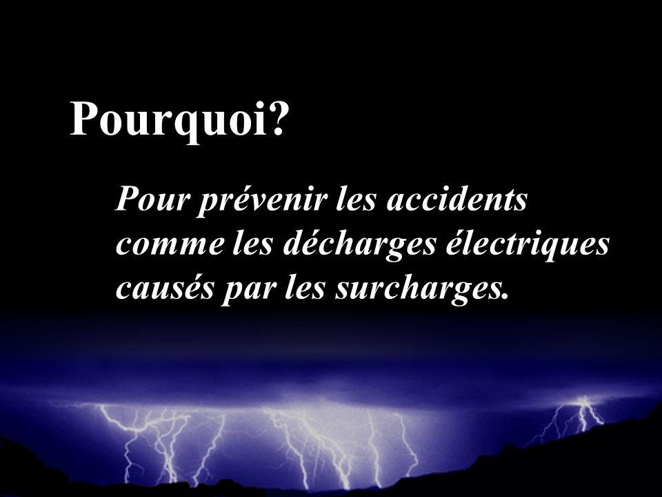 Pourquoi Pour prévenir les accidents comme les décharges électriques causés par les surcharges.
