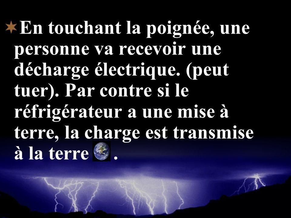 En touchant la poignée, une personne va recevoir une décharge électrique.