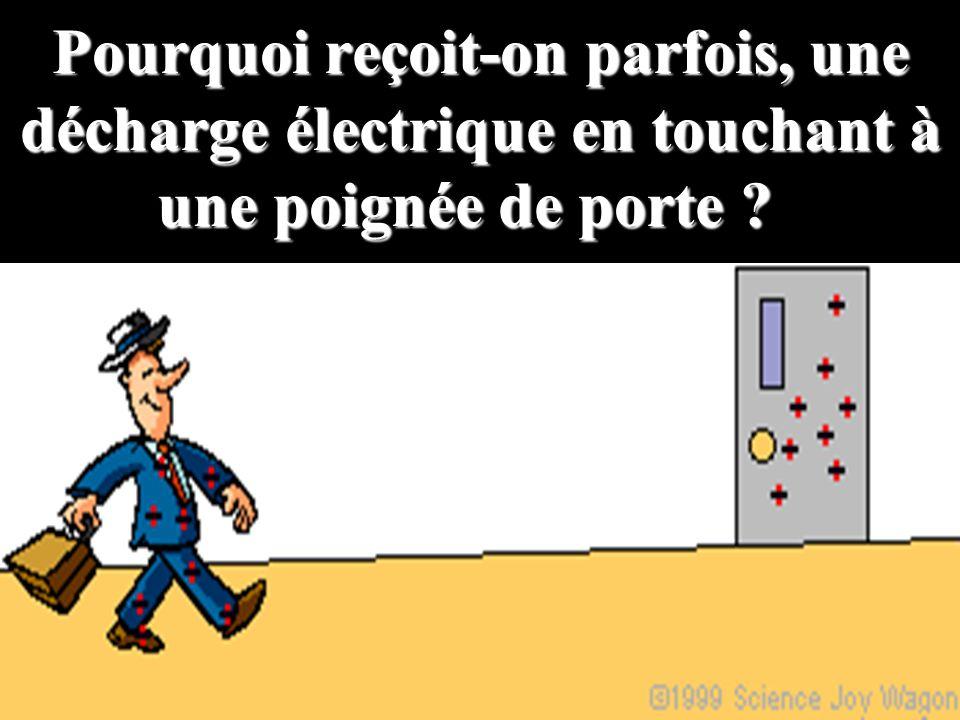 Pourquoi reçoit-on parfois, une décharge électrique en touchant à une poignée de porte