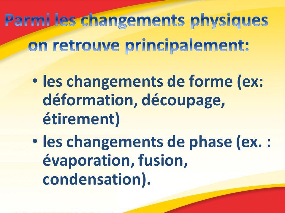 Parmi les changements physiques on retrouve principalement: