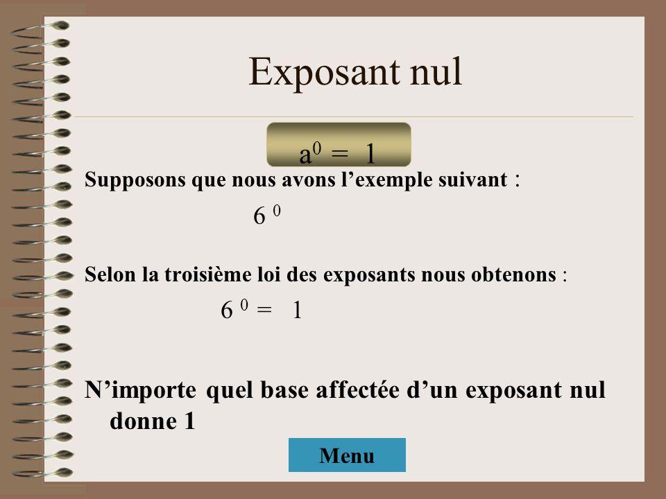 Exposant nulSupposons que nous avons l'exemple suivant : 6 0. Selon la troisième loi des exposants nous obtenons :