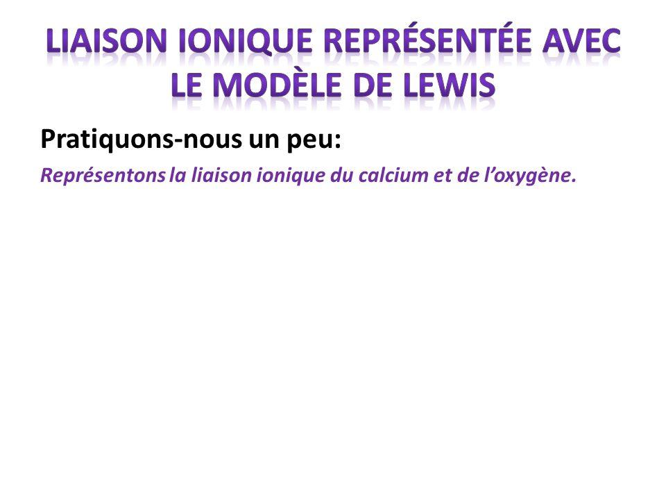 liaison ionique représentée avec le modèle de Lewis