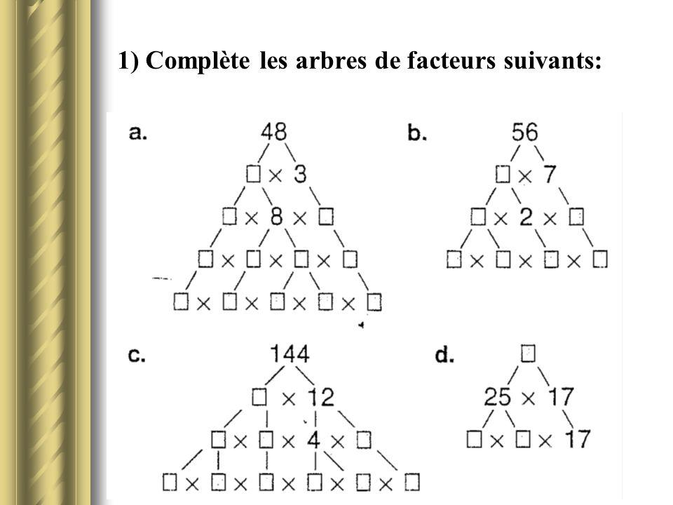 1) Complète les arbres de facteurs suivants: