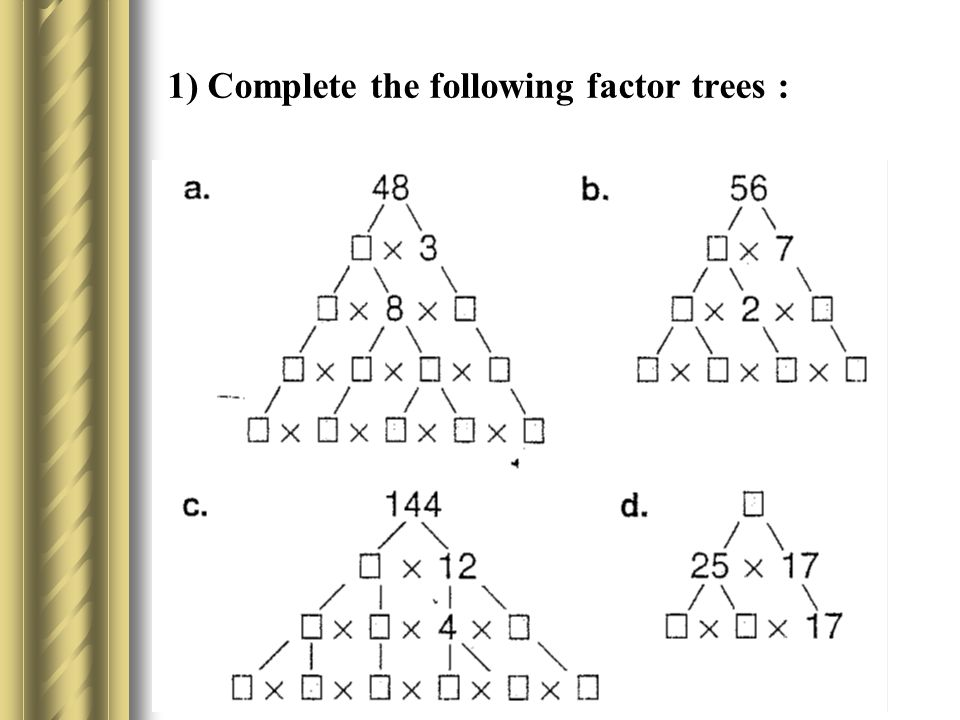 1) Complete the following factor trees :