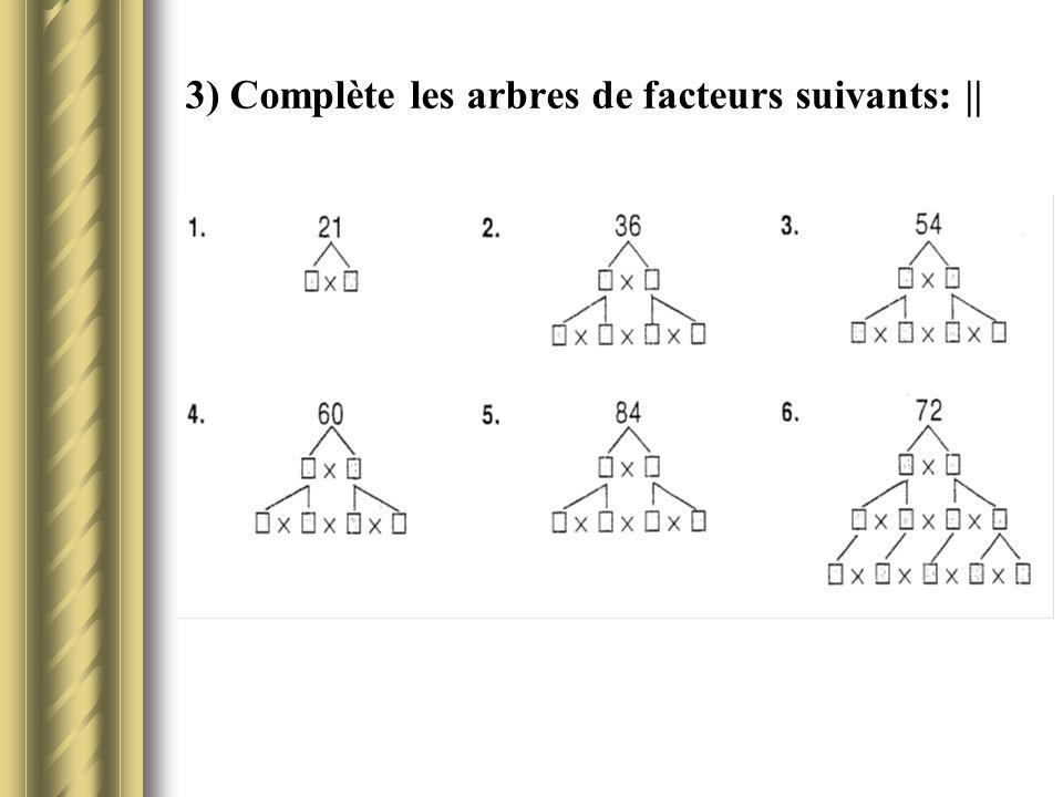 3) Complète les arbres de facteurs suivants: ||