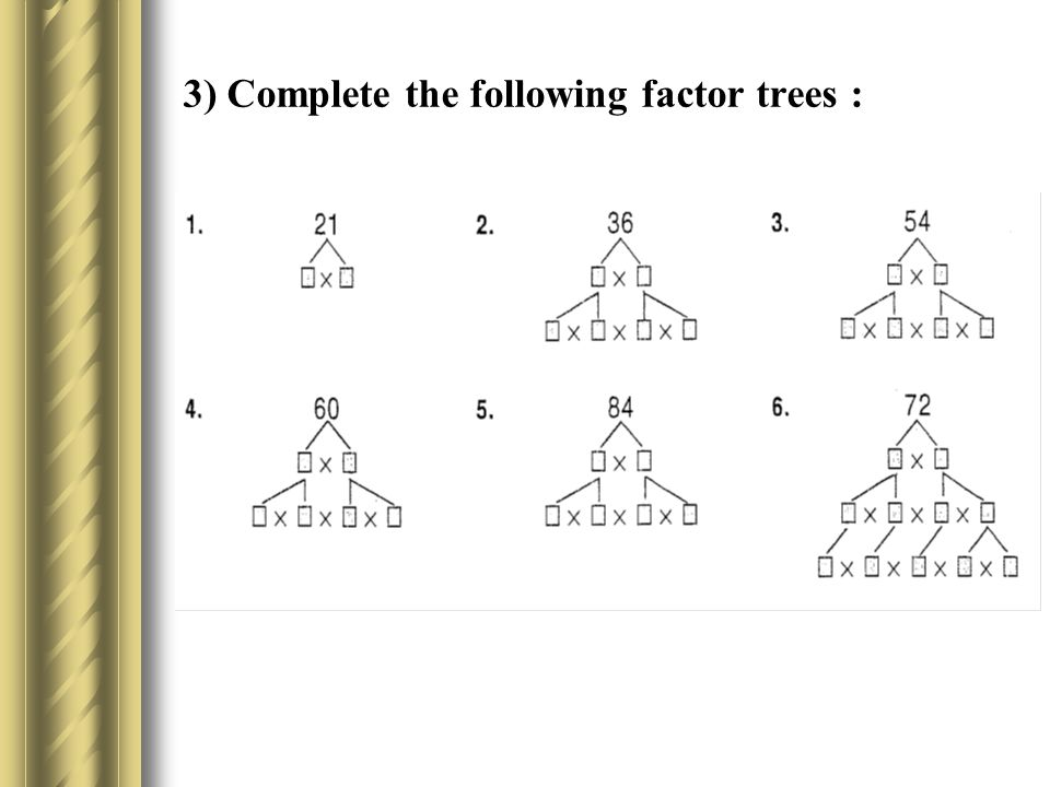 3) Complete the following factor trees :