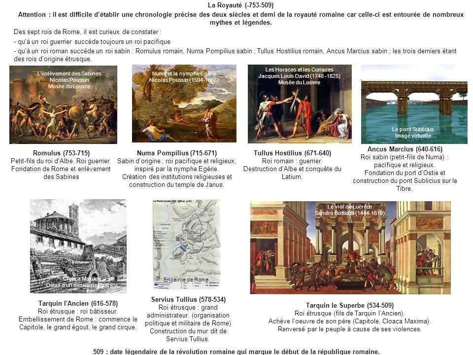 Des sept rois de Rome, il est curieux de constater :