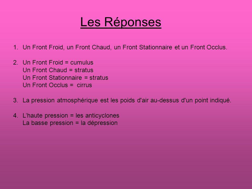 Les Réponses Un Front Froid, un Front Chaud, un Front Stationnaire et un Front Occlus. Un Front Froid = cumulus.