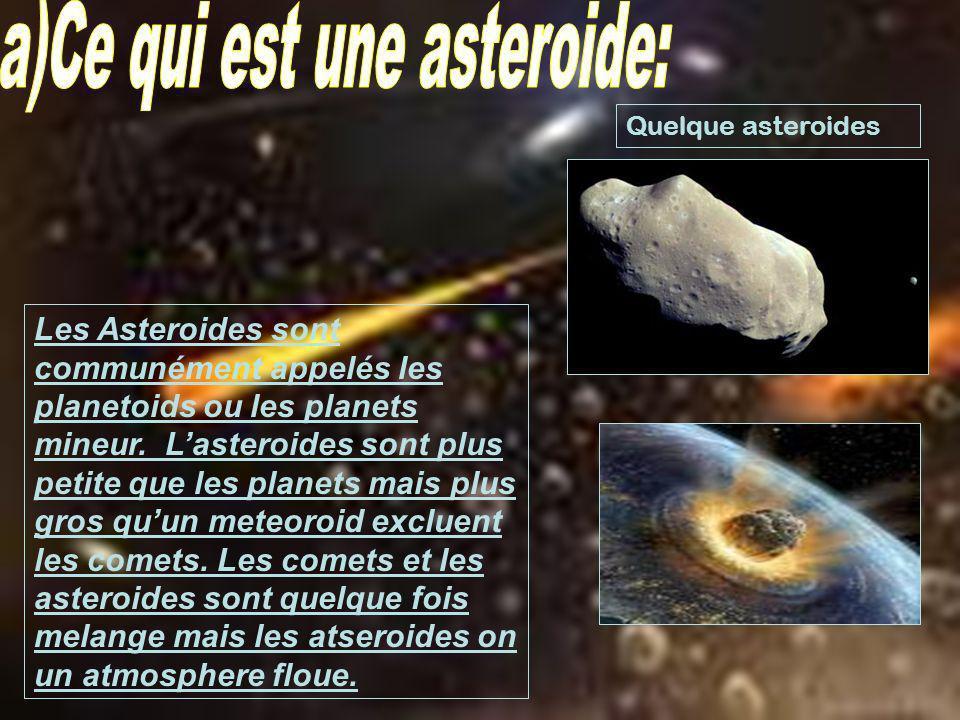 a)Ce qui est une asteroide: