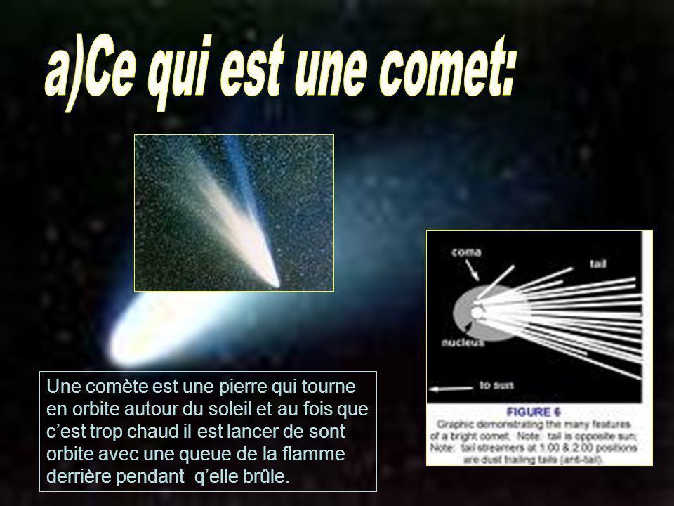 a)Ce qui est une comet: