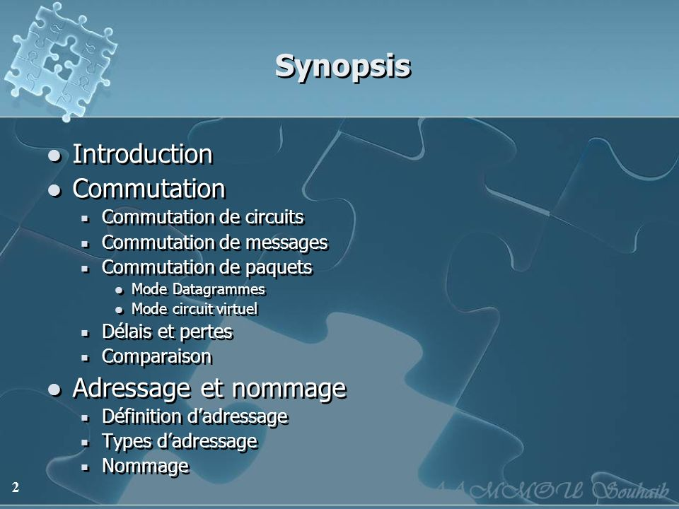 Synopsis Introduction Commutation Adressage et nommage