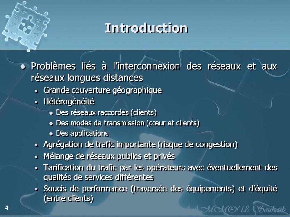 Introduction Problèmes liés à l'interconnexion des réseaux et aux réseaux longues distances. Grande couverture géographique.