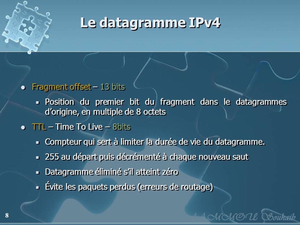 Le datagramme IPv4 Fragment offset – 13 bits