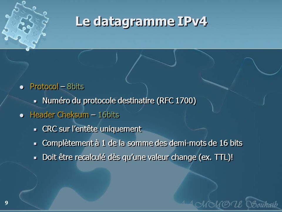 Le datagramme IPv4 Protocol – 8bits
