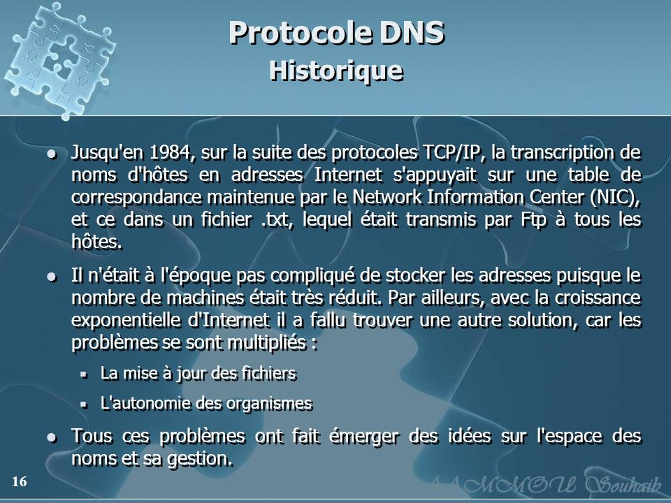 Protocole DNS Historique