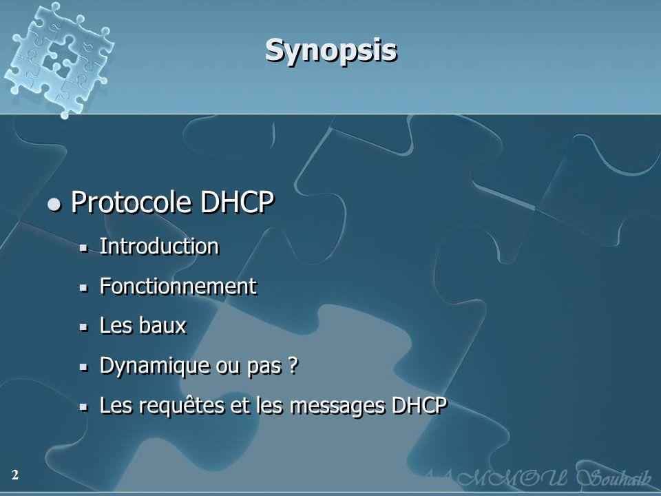 Synopsis Protocole DHCP Introduction Fonctionnement Les baux