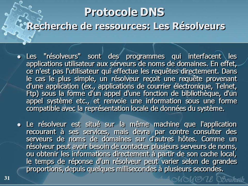 Protocole DNS Recherche de ressources: Les Résolveurs