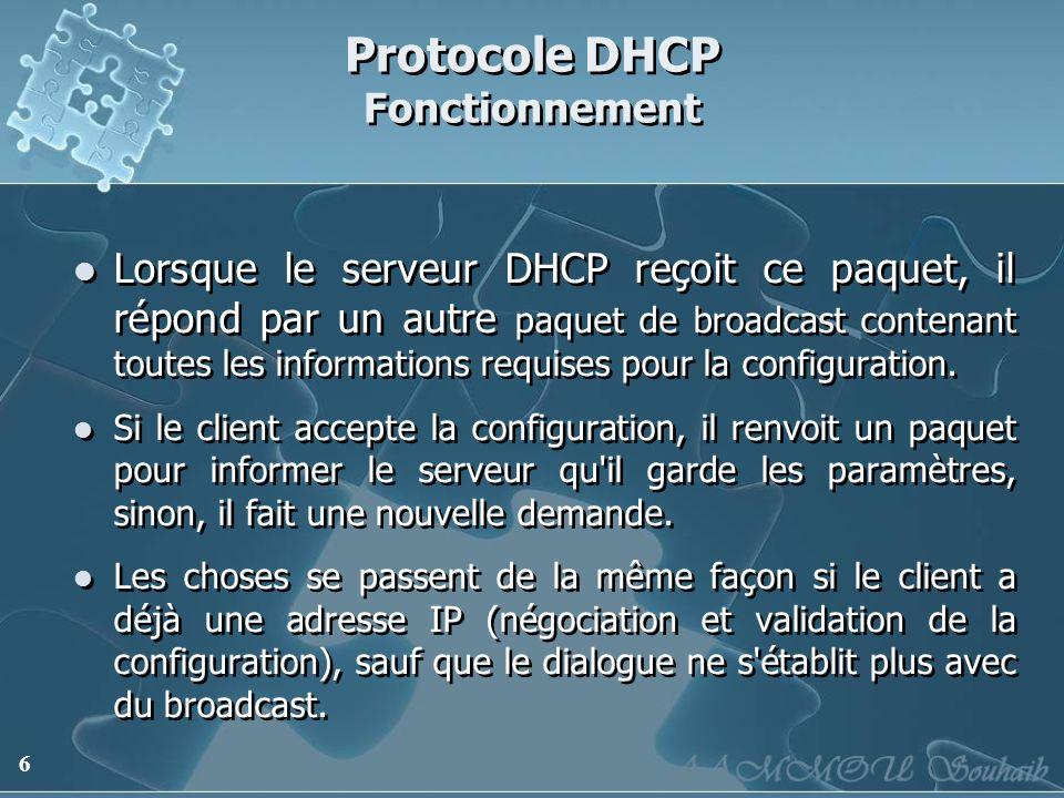 Protocole DHCP Fonctionnement
