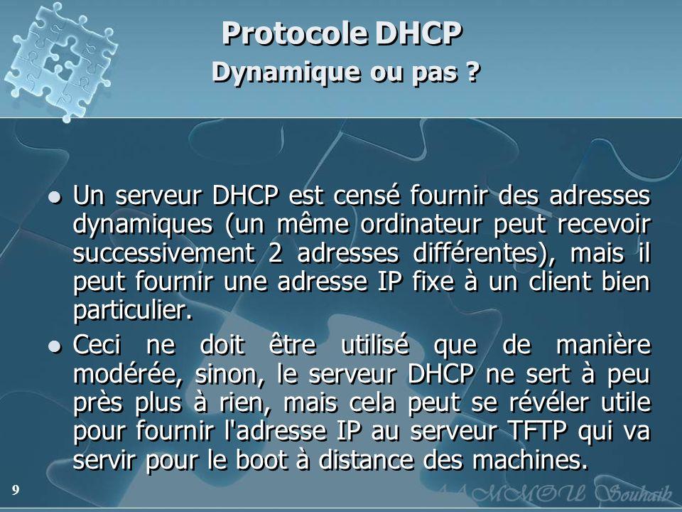 Protocole DHCP Dynamique ou pas