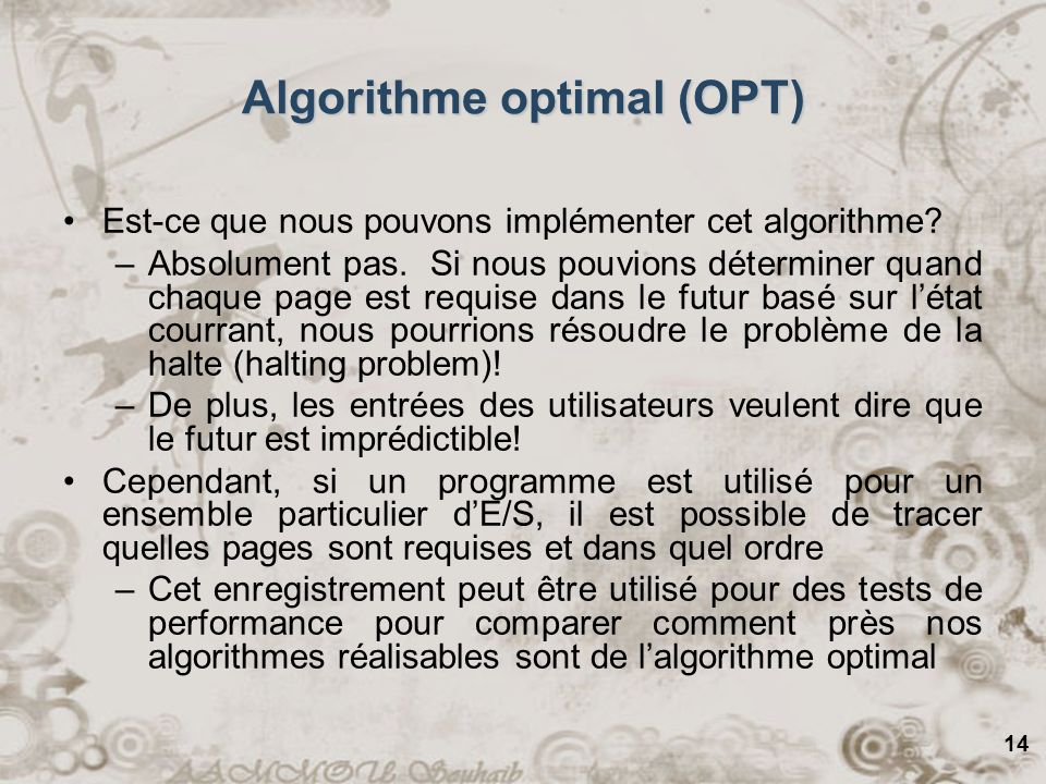Algorithme optimal (OPT)