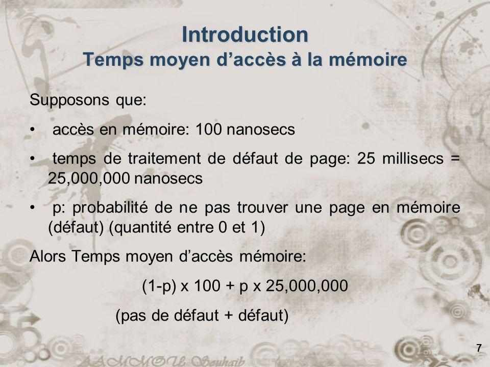 Introduction Temps moyen d'accès à la mémoire