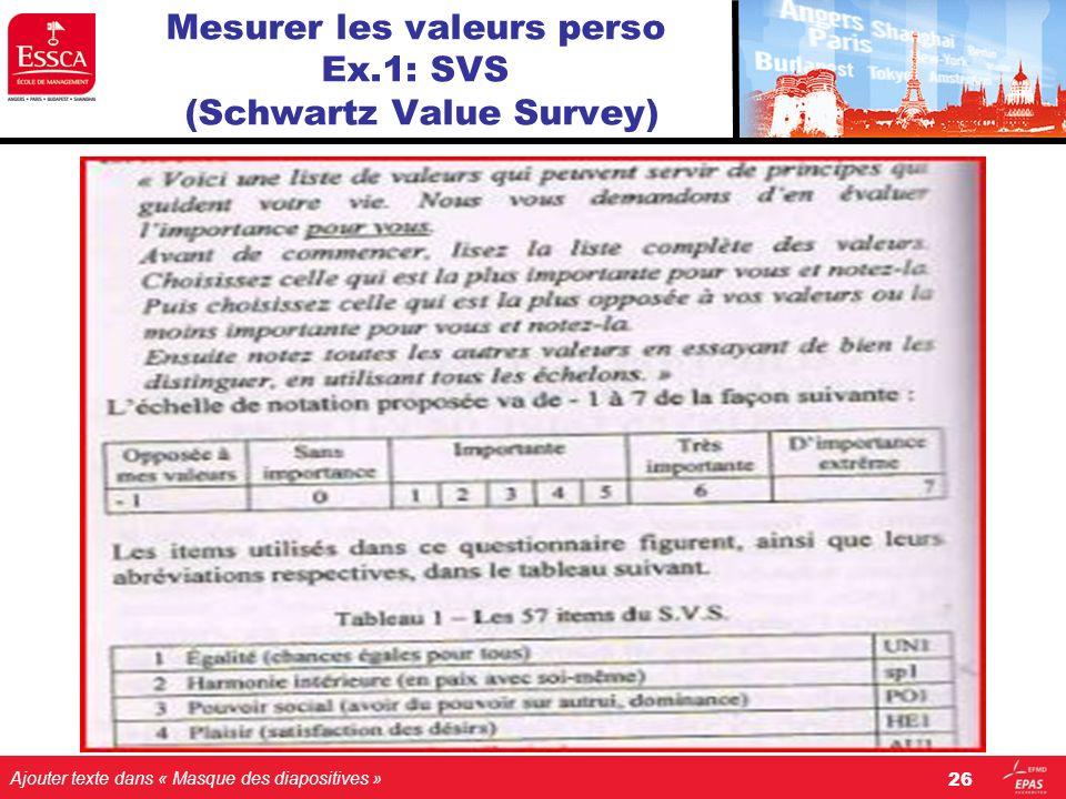 Mesurer les valeurs perso Ex.1: SVS (Schwartz Value Survey)