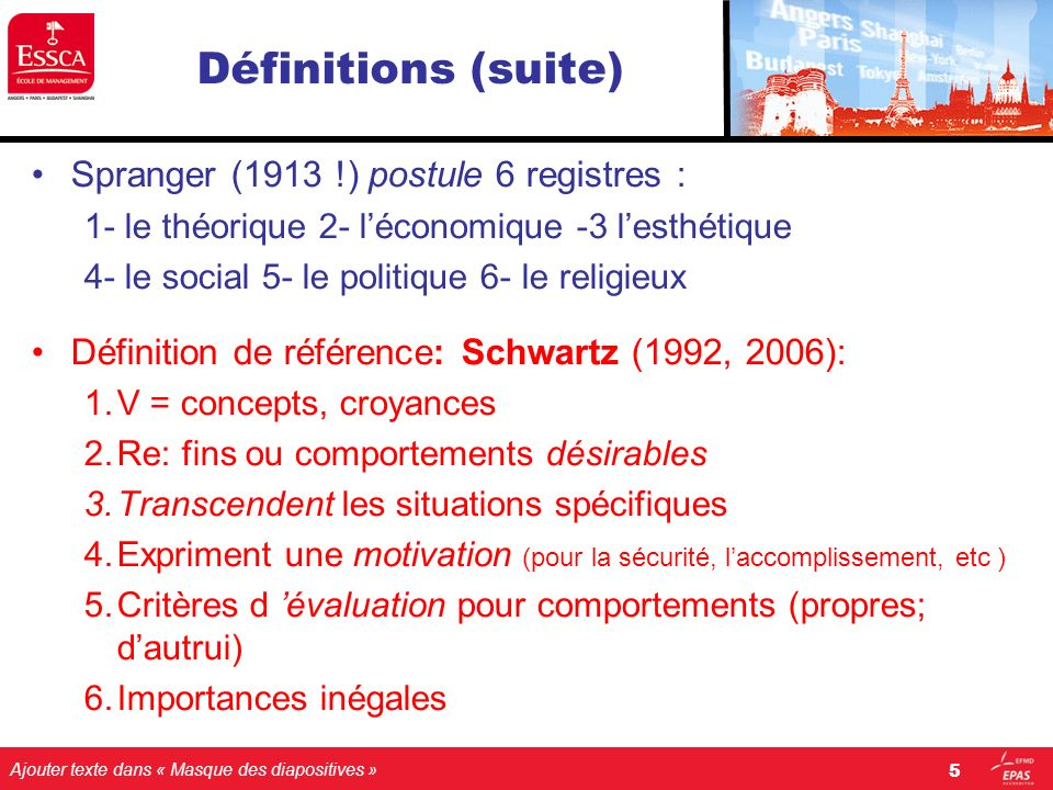 Définitions (suite) Spranger (1913 !) postule 6 registres :