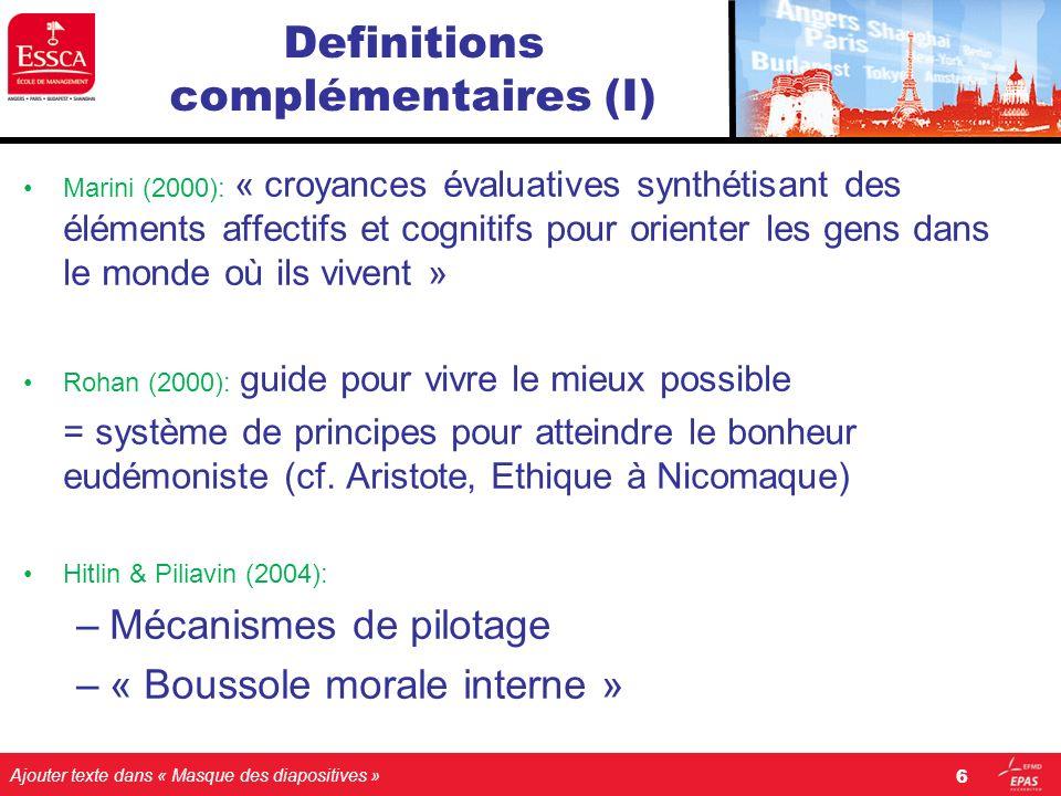 Definitions complémentaires (I)