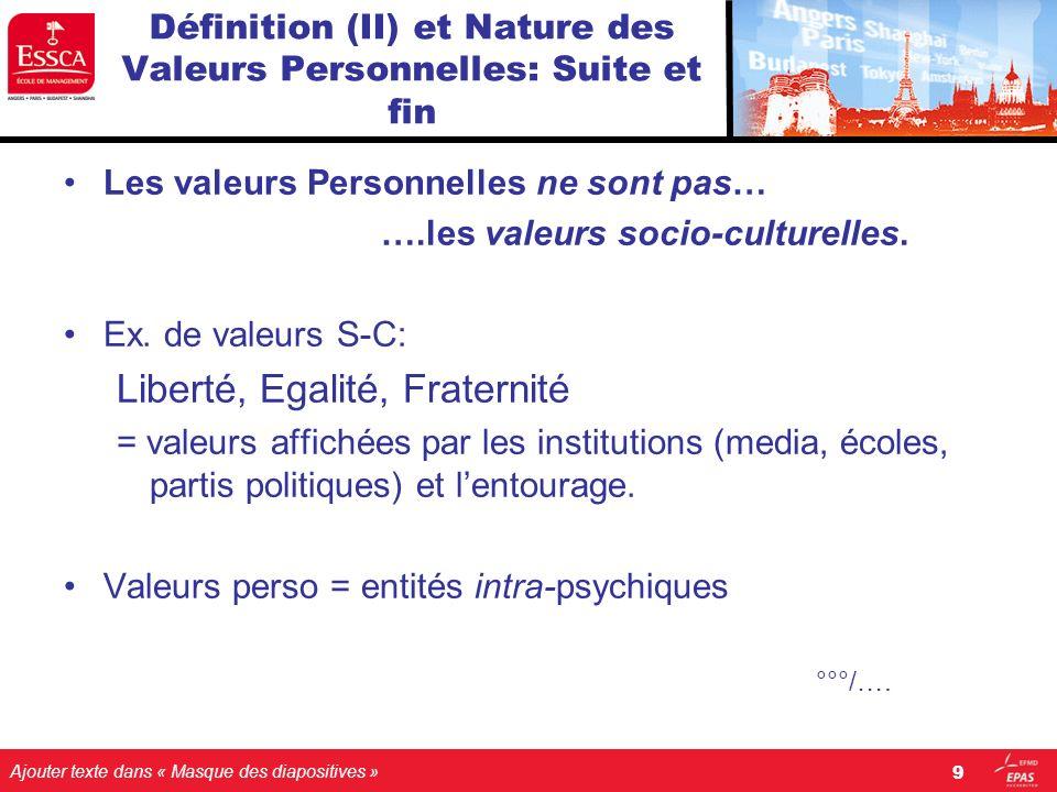 Définition (II) et Nature des Valeurs Personnelles: Suite et fin