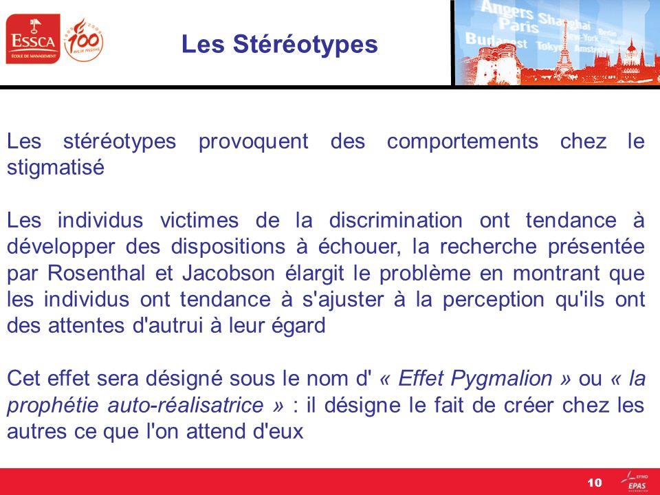 Les Stéréotypes Les stéréotypes provoquent des comportements chez le stigmatisé.
