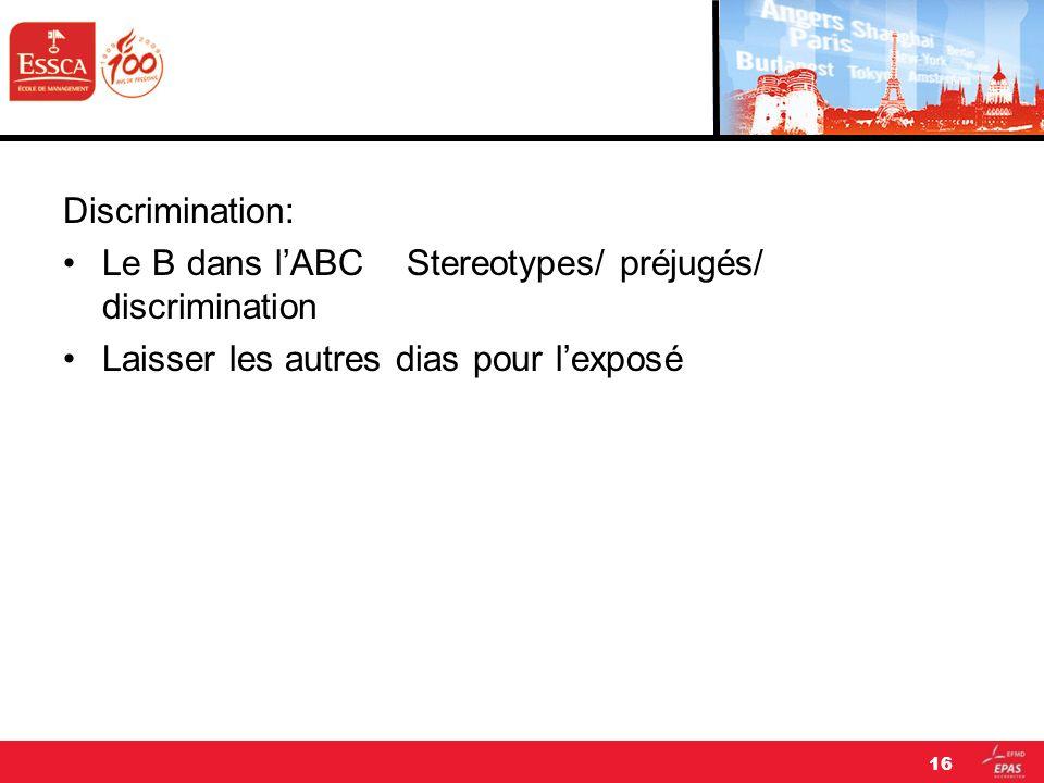 Discrimination: Le B dans l'ABC Stereotypes/ préjugés/ discrimination.