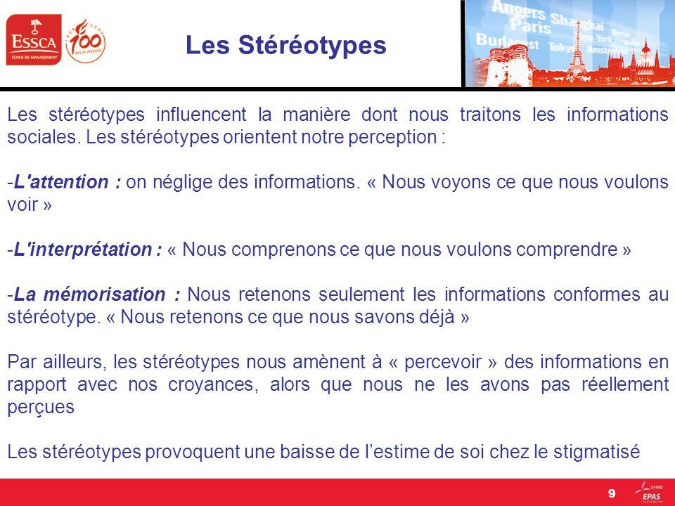 Les Stéréotypes Les stéréotypes influencent la manière dont nous traitons les informations sociales. Les stéréotypes orientent notre perception :