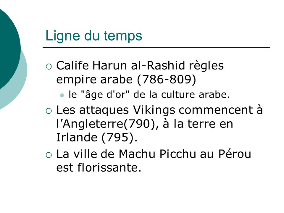 Ligne du temps Calife Harun al-Rashid règles empire arabe (786-809)
