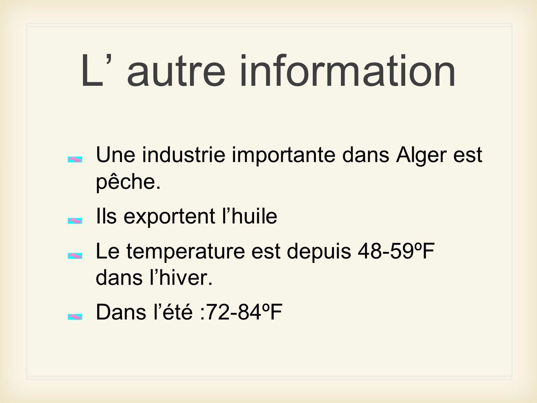 L' autre information Une industrie importante dans Alger est pêche.