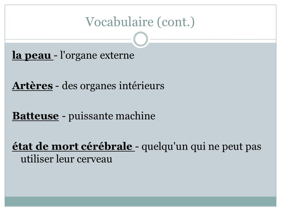 Vocabulaire (cont.)