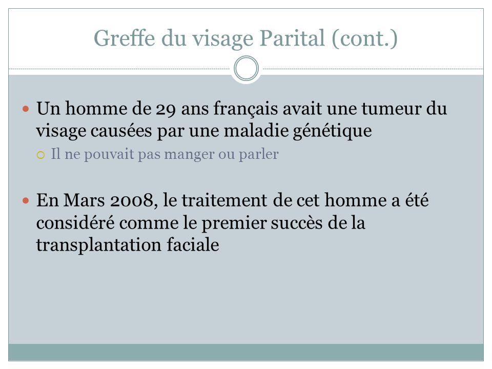 Greffe du visage Parital (cont.)