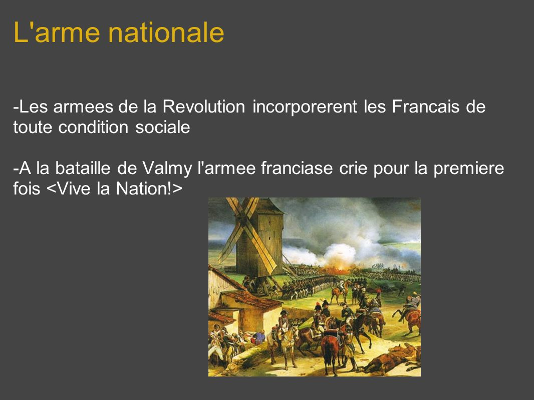 L arme nationale -Les armees de la Revolution incorporerent les Francais de toute condition sociale.