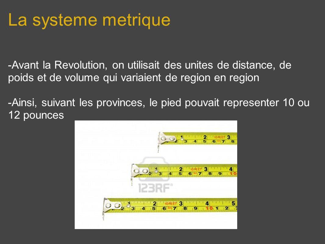 La systeme metrique -Avant la Revolution, on utilisait des unites de distance, de poids et de volume qui variaient de region en region.
