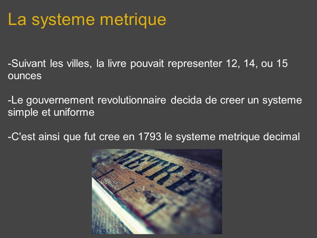 La systeme metrique-Suivant les villes, la livre pouvait representer 12, 14, ou 15 ounces.