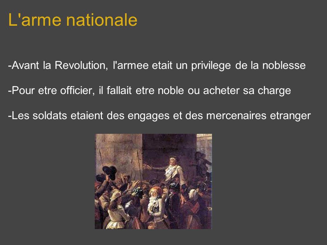 L arme nationale -Avant la Revolution, l armee etait un privilege de la noblesse. -Pour etre officier, il fallait etre noble ou acheter sa charge.