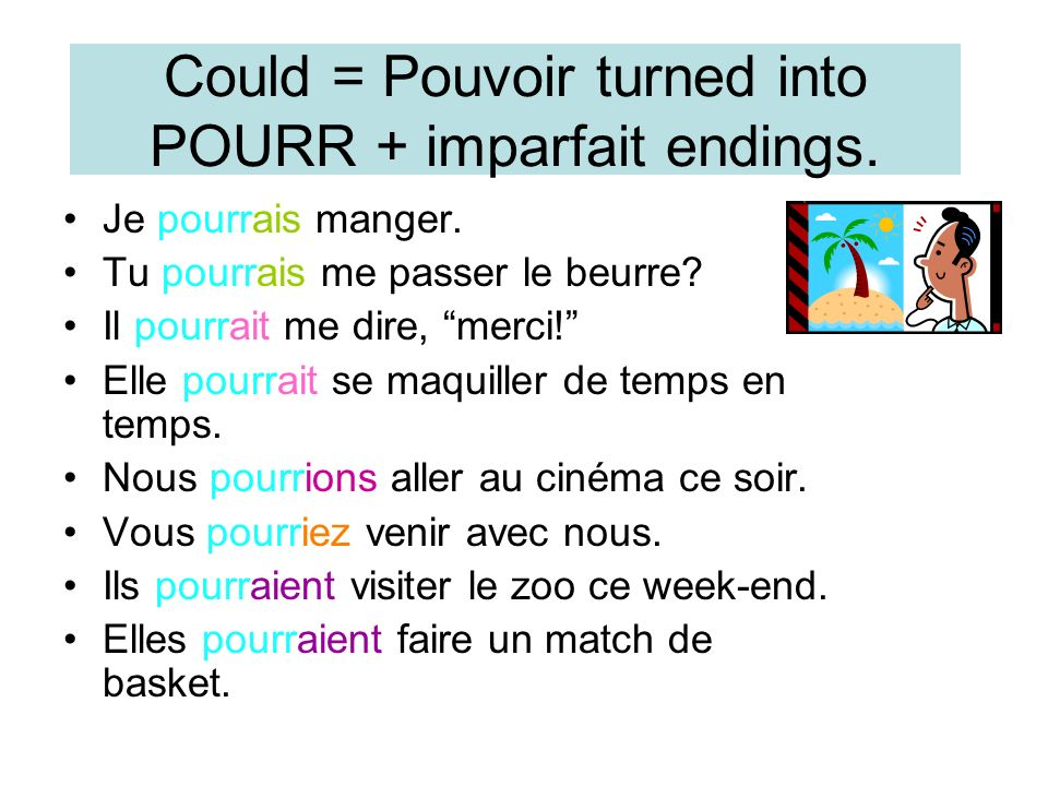 Could = Pouvoir turned into POURR + imparfait endings.