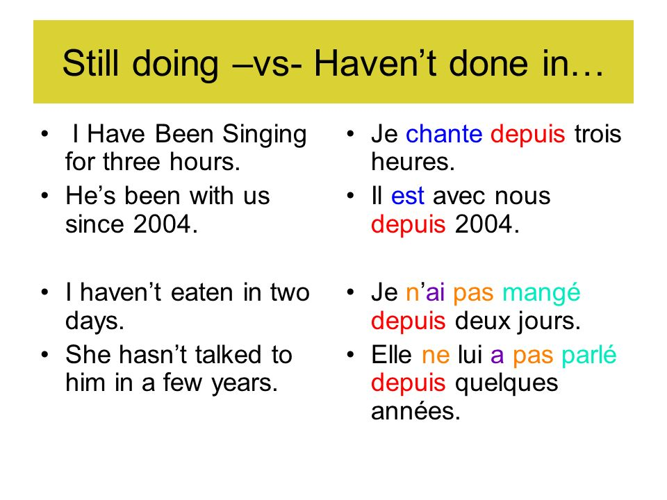 Still doing –vs- Haven't done in…