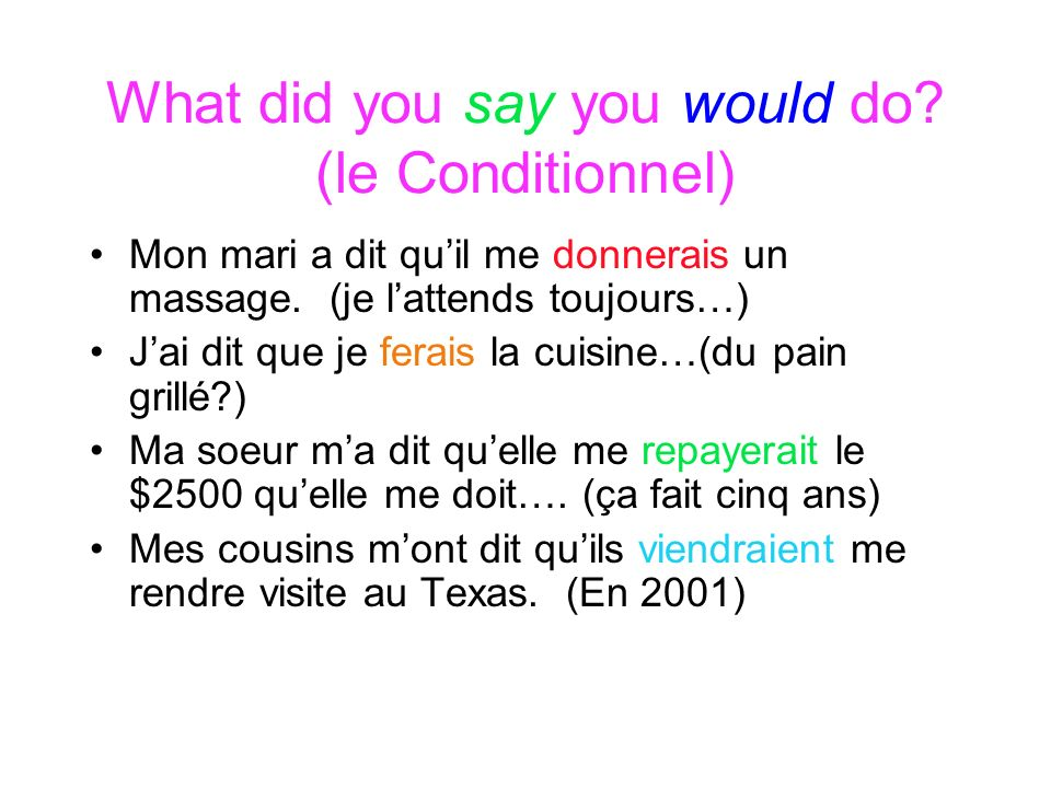 What did you say you would do (le Conditionnel)