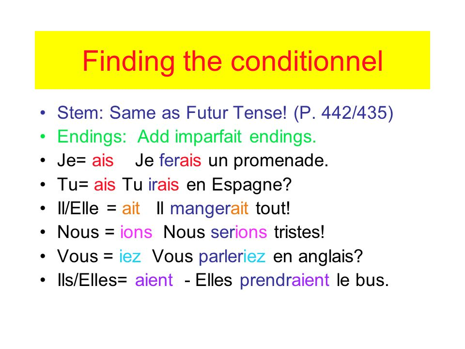 Finding the conditionnel